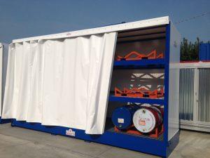 Box di contenimento sostanze inquinanti completo di supporti cisterne